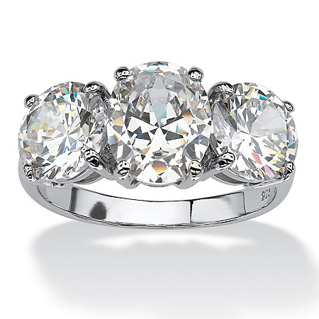 6.54 TCW Oval Cut Cubic Zirconia Platinum over Sterling Silver 3-Stone Bridal Engagement Ring at PalmBeach Jewelry