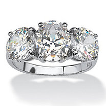 SETA JEWELRY 6.54 TCW Oval Cut Cubic Zirconia Platinum over Sterling Silver 3-Stone Bridal Engagement Ring