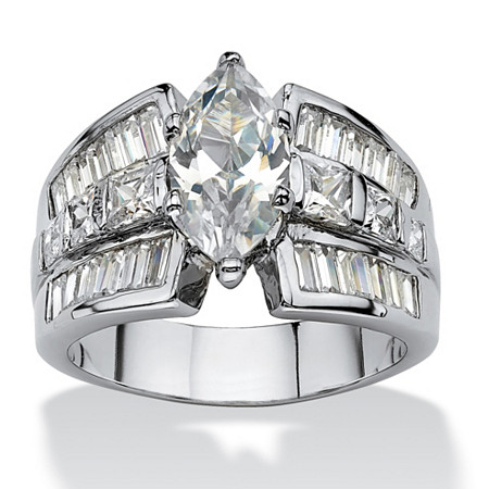 7.87 TCW Marquise-Cut Cubic Zirconia Engagement Anniversary Ring Platinum-Plated at PalmBeach Jewelry