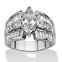 SETA JEWELRY 7.87 TCW Marquise-Cut Cubic Zirconia Engagement Anniversary Ring Platinum-Plated