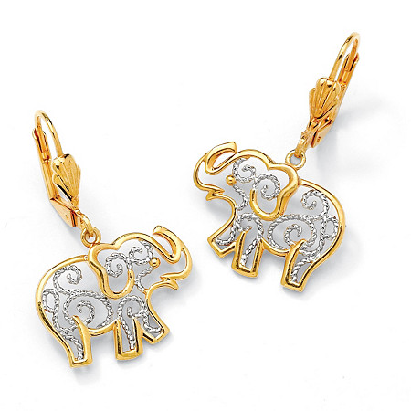 18k Gold-Plated Two-Tone Filigree Elephant Drop Earrings at PalmBeach Jewelry