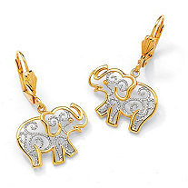 18k Gold-Plated Two-Tone Filigree Elephant Drop Earrings