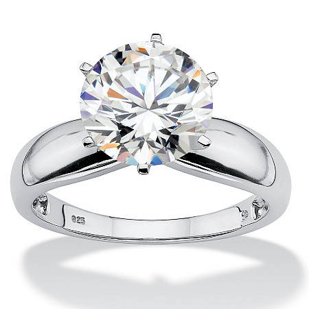 3.50 TCW Round Cubic Zirconia Platinum over Sterling Silver Solitaire Bridal Engagement Ring at PalmBeach Jewelry