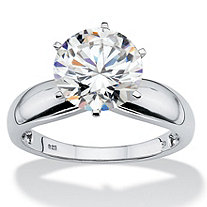 3.50 TCW Round Cubic Zirconia Platinum over Sterling Silver Solitaire Bridal Engagement Ring
