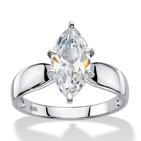 2.48 TCW Marquise-Cut Cubic Zirconia Platinum over Sterling Silver Solitaire Bridal Engagement Ring at PalmBeach Jewelry