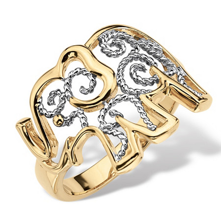 Two-Tone 18k Gold-Plated Elephant Filigree Ring at PalmBeach Jewelry