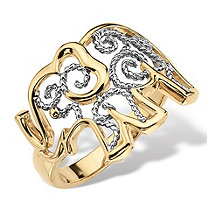 Two-Tone 18k Gold-Plated Elephant Filigree Ring