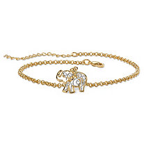 "18k Gold-Plated Two-Tone Filigree Elephant Ankle Bracelet Adjustable 9""-11"""