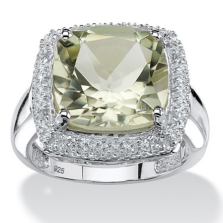 5.63 TCW Cushion-Cut Genuine Green Amethyst Halo Ring in .925 Sterling Silver at PalmBeach Jewelry