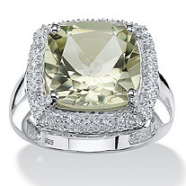 5.63 TCW Cushion-Cut Genuine Green Amethyst Halo Ring in .925 Sterling Silver