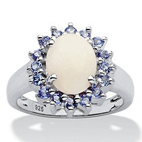 Opal and .64 TCW Tanzanite Ring in Sterling Silver