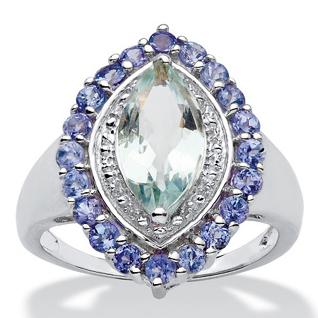 2.45 TCW Marquise-Cut Genuine Aquamarine and Tanzanite Halo Ring in Sterling Silver at PalmBeach Jewelry