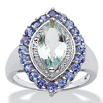 SETA JEWELRY 2.45 TCW Marquise-Cut Genuine Aquamarine and Tanzanite Halo Ring in Sterling Silver