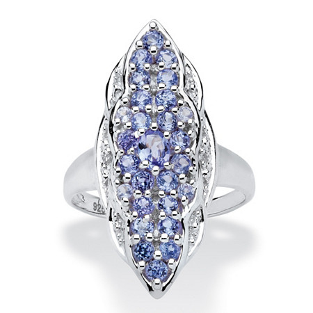 1.09 TCW Tanzanite and White Topaz Ring in Sterling Silver at PalmBeach Jewelry