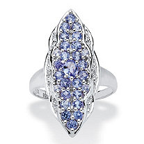 SETA JEWELRY 1.09 TCW Tanzanite and White Topaz Ring in Sterling Silver