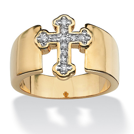 Round Cubic Zirconia Accent Cross Band in Yellow Gold Tone at PalmBeach Jewelry