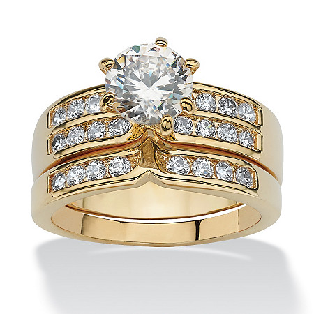 2.89 TCW 2 Piece Round Cubic Zirconia Bridal Ring Set in Yellow Gold Tone at PalmBeach Jewelry