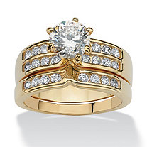 2.89 TCW 2 Piece Round Cubic Zirconia Bridal Ring Set in Yellow Gold Tone