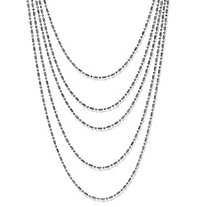 SETA JEWELRY Silvertone Multi-Chain Beaded Waterfall Necklace 36