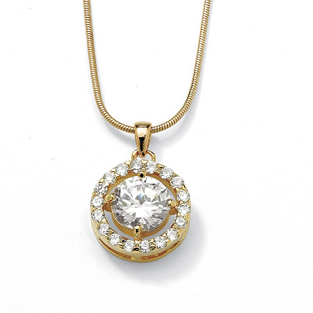 3.24 TCW Round Cubic Zirconia Pendant Necklace in Yellow Gold Tone at PalmBeach Jewelry