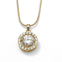 3.24 TCW Round Cubic Zirconia Pendant Necklace in Yellow Gold Tone