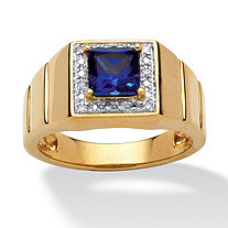 SETA JEWELRY Men's 1 TCW Square-Cut Blue Created Sapphire 18k Gold over Sterling Silver Ring