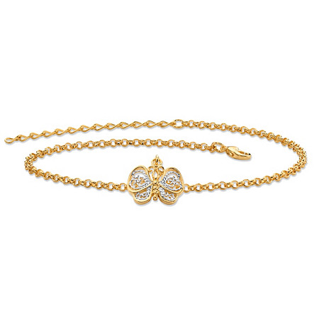 "18k Gold-Plated Two-Tone Filigree Butterfly Ankle Bracelet Adjustable 9""-11"" at PalmBeach Jewelry"