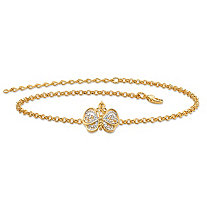 "18k Gold-Plated Two-Tone Filigree Butterfly Ankle Bracelet Adjustable 9""-11"""