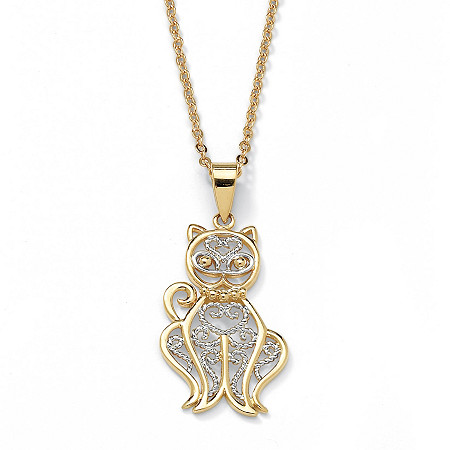 18k Gold-Plated Filigree Cat Pendant and Chain 18
