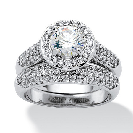 2.30 TCW Round Cubic Zirconia Pave Platinum-Plated Bridal Engagement Ring Wedding Band Set at PalmBeach Jewelry