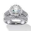 Related Item 2.30 TCW Round Cubic Zirconia Pave Platinum-Plated Bridal Engagement Ring Wedding Band Set