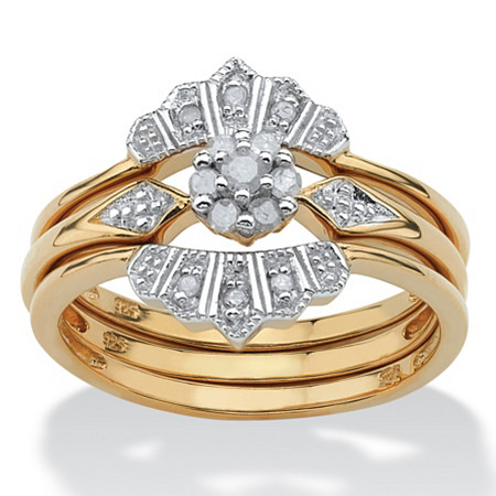 1/7 TCW Round Diamond Bridal Ring 3-Piece Set in 18k Gold over Sterling Silver at PalmBeach Jewelry