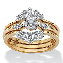 SETA JEWELRY 1/7 TCW Round Diamond Bridal Ring 3-Piece Set in 18k Gold over Sterling Silver