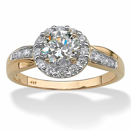 1.48 TCW Cubic Zirconia 10k Yellow Gold Engagement Anniversary Halo Ring at PalmBeach Jewelry