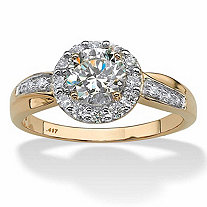 SETA JEWELRY 1.48 TCW Cubic Zirconia 10k Yellow Gold Engagement Anniversary Halo Ring