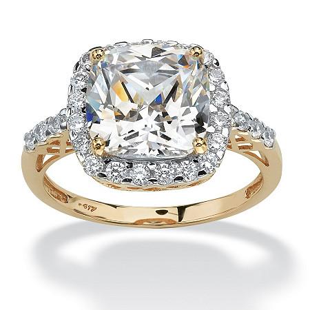 3.20 TCW Cushion-Cut Cubic Zirconia Cutout Halo Engagement Ring in 10k Yellow  Gold
