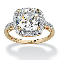 SETA JEWELRY 3.20 TCW Cushion-Cut Cubic Zirconia Cutout Halo Engagement Ring in Solid 10k Yellow Gold