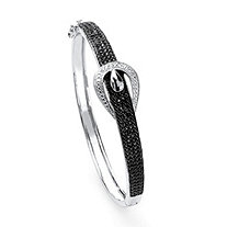 SETA JEWELRY 1/4 TCW Round-Cut Black Diamond Silvertone Bangle Bracelet 7 1/4