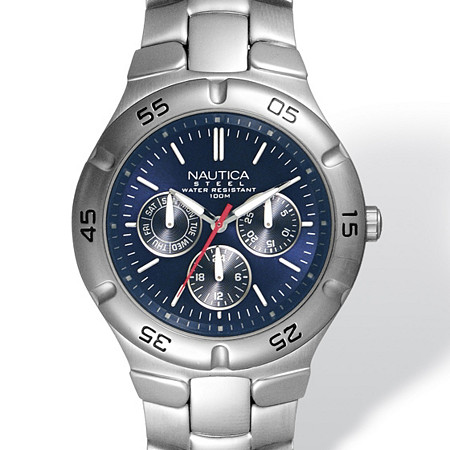 Men's Nautica Blue and Silver Multi-Function Water-Resistant Watch with Adjustable Link Band in Stainless Steel 8
