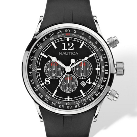 Men's Nautica Multifunction Chronograph Tachymeter Watch with Black Dial and Adjustable Black Resin Strap in Stainless Steel 8