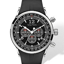Men's Nautica Multifunction Chronograph Tachymeter Watch with Black Face and Adjustable Black Resin Strap in Stainless Steel 8""
