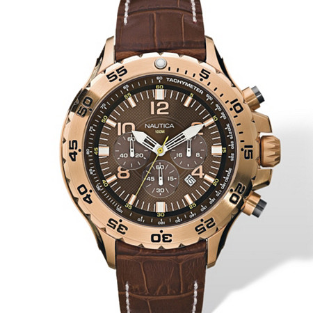Men's Nautica Chronograph Watch with Brown Croco-Embossed Leather Strap and Brown Face in Yellow Gold Tone Adjustable 8