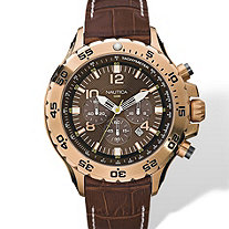 Men's Nautica Chronograph Watch with Brown Croco-Embossed Leather Strap and Brown Dial in Yellow Gold Tone Adjustable 8""