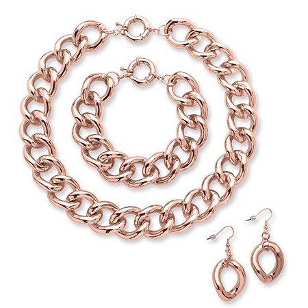 Curb-Link Necklace, Bracelet and Drop Earrings Three-Piece Set in Rose Gold-Plated at PalmBeach Jewelry