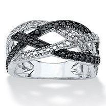 SETA JEWELRY Black Diamond Accent Pave Crossover Ring in .925 Sterling Silver and Black Ruthenium Finish