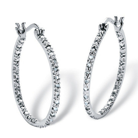 1/4 TCW Diamond Inside-Out Hoop Earrings in Sterling Silver at PalmBeach Jewelry