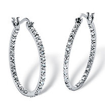 "1/4 TCW Diamond Inside-Out Hoop Earrings in Sterling Silver (1"")"