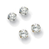 6 TCW Round Cubic Zirconia 10k Gold Stud Earrings 2-Pair Set