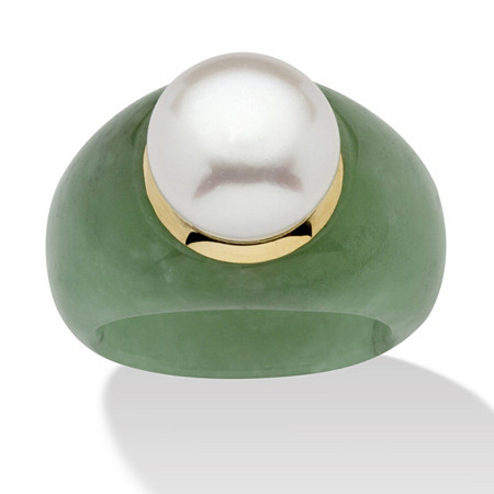Round Cultured Freshwater Pearl Green Jade 10k Yellow Gold Ring (11mm) at PalmBeach Jewelry
