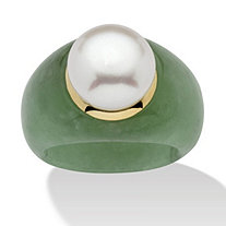 Round Cultured Freshwater Pearl Green Jade 10k Yellow Gold Ring (11mm)